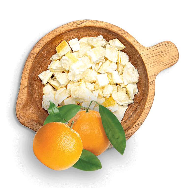 Лиофилизирани портокали на кубчета